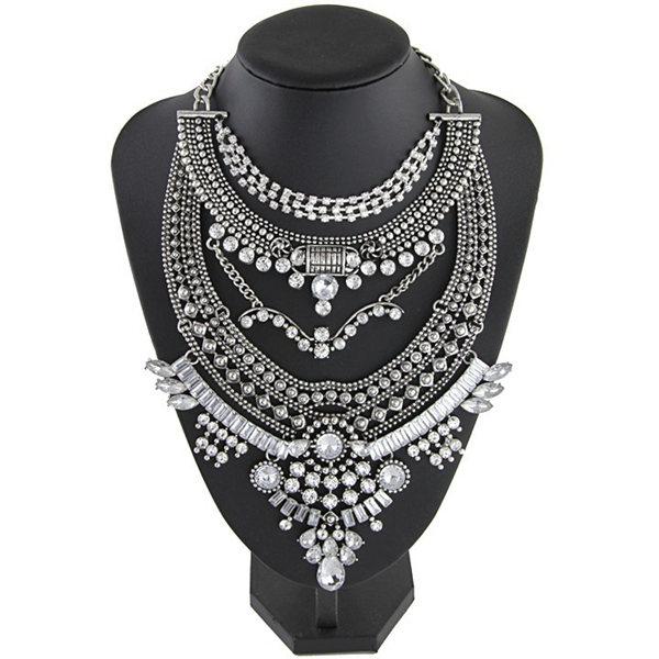 Vintage Bib Rhinestone Crystal Choker Necklace For Women Antique Silver Colour