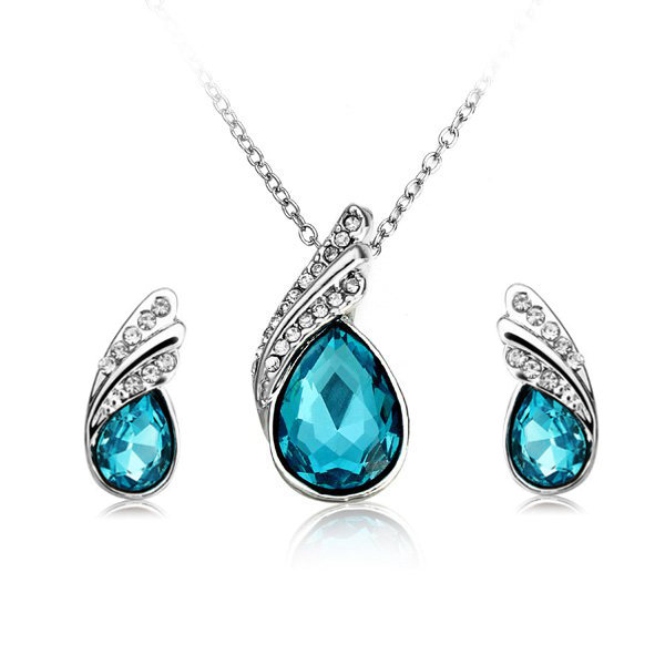 Crystal Water Drop Necklace Earrings Jewelry Set Silver Plated Light Blue Colour