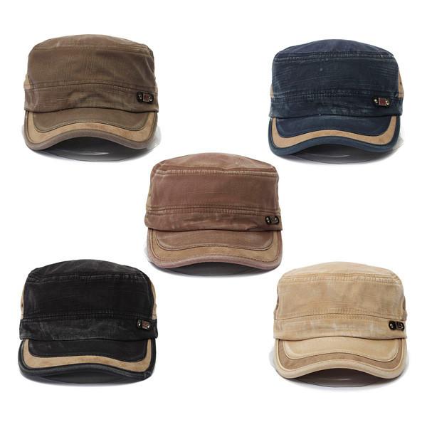 Unisex Vintage Military Washed Cadet Hat Army Plain Flat Cap Black Colour 532f73032ca