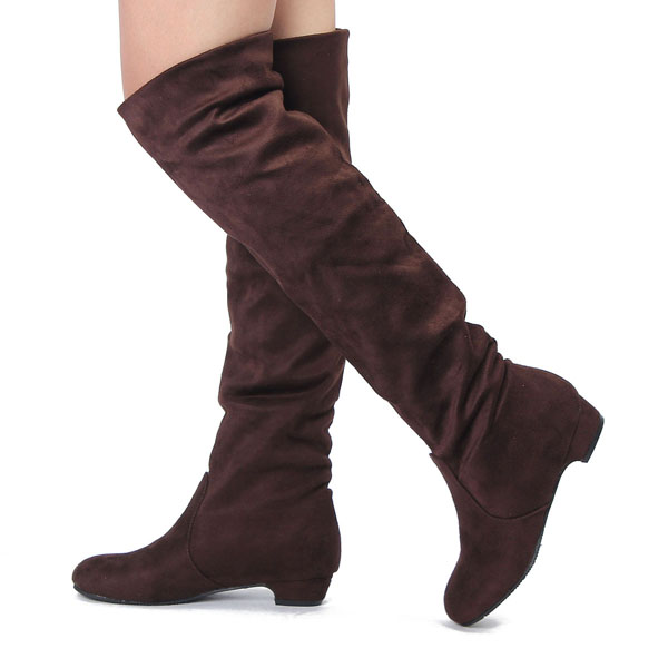 womens stylish winter flat heel over the knee suede