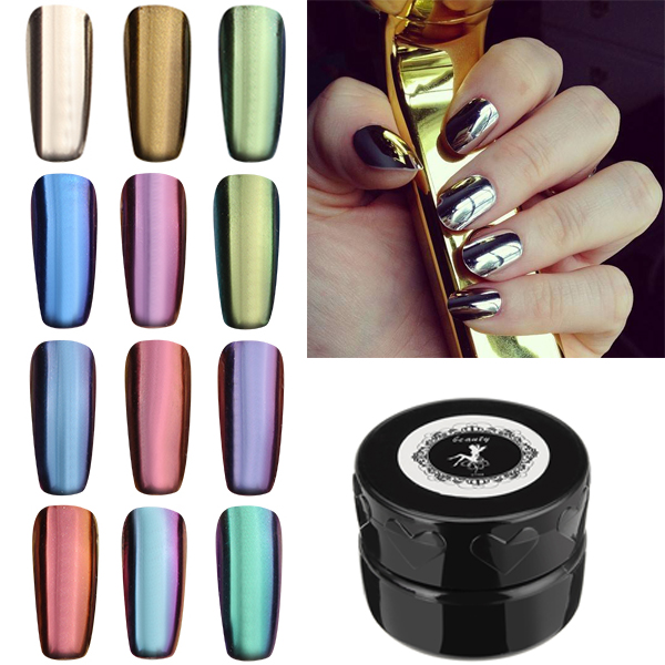 12-Colour Magic Mirror Chrome Effect Metallic Powder Set Nail Art ...