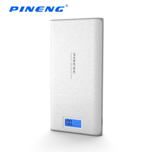 PINENG PN-920 20000mAh Dual USB Port 5V/2A Power Bank with LCD Digital Display - White Colour