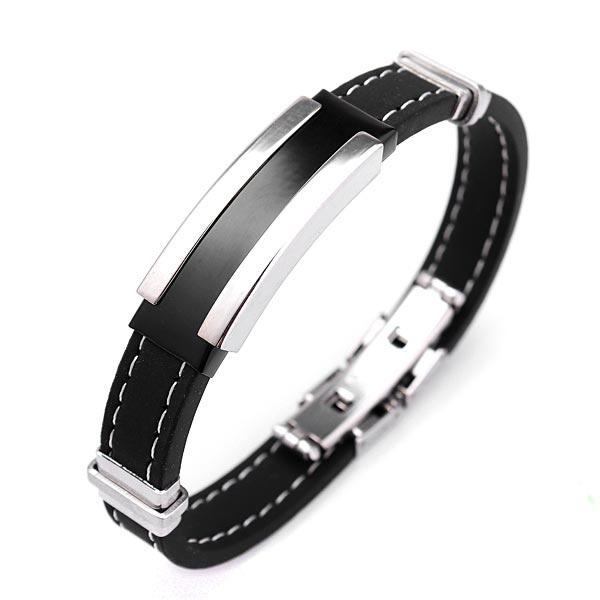 Men's Silver Stainless Steel Black Rubber Bangle Bracelet