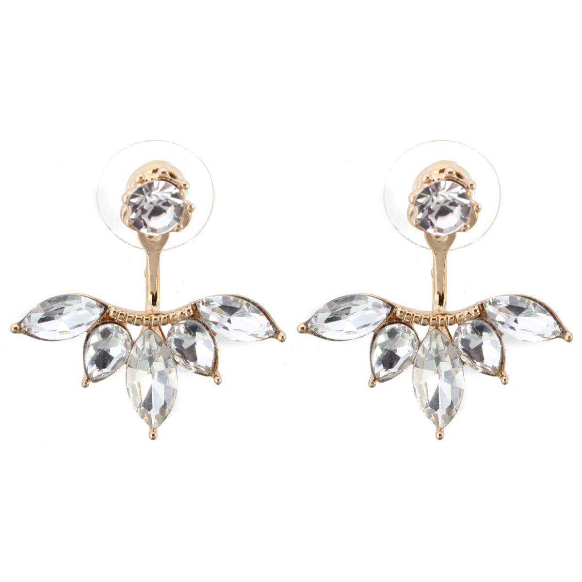 Women's Elegant Silver Gold Plated Zircon Leaf Ear Stud Earrings Jewellery Gold Colour
