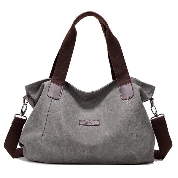 Durable Canvas Big Capacity Shoulder Bags Simple Crossbody Bags - Grey Colour