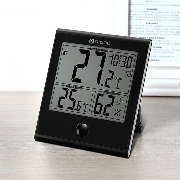 Digoo Indoor and Outdoor Glass Panel Thermometer Hygrometer for Humidity Monitor Home Comfort