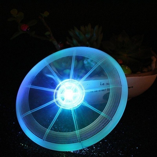 Frisbee Flying Disc Toy with LED Lights Flashflight for Dog Pet Blue Colour