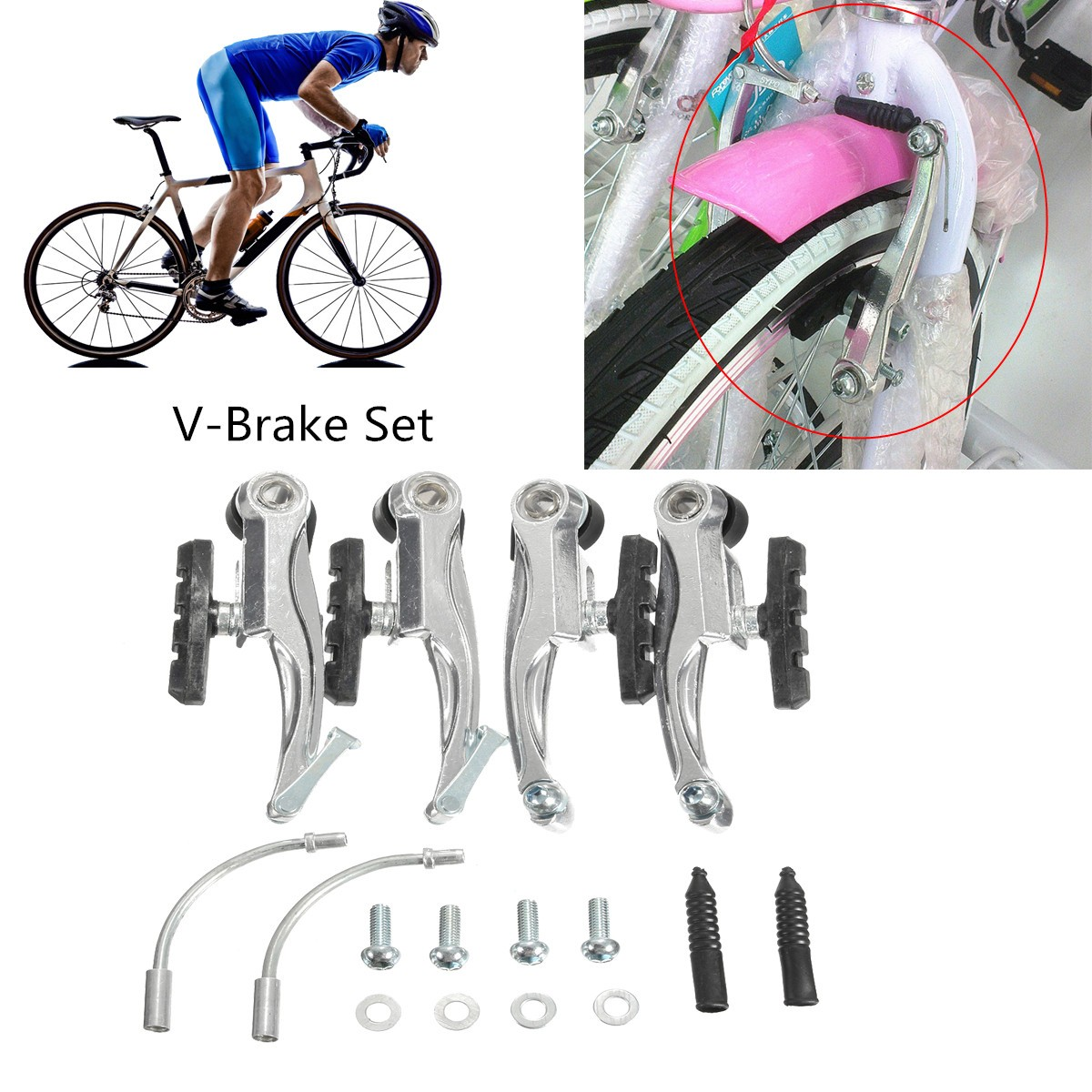 Alloy Front & Rear V Brake Levers Caliper Set Tail Brake for Mountain Bicycle