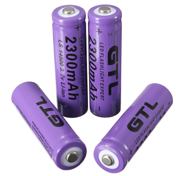 4X GTL 3.7V 2300mAh 14500 Rechargeable Li-ion Battery