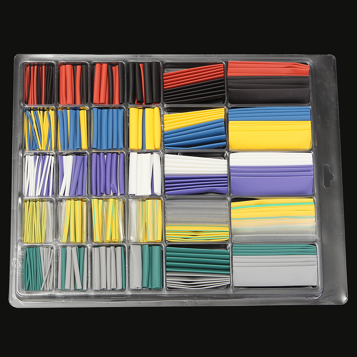 500x 2:1 Heat Shrink Wire Tubing Cable Sleeving Wrap Kit φ1.0/3.0/4.0/6.0/8.0/12.0mm Internal Diameter Halogen-Free