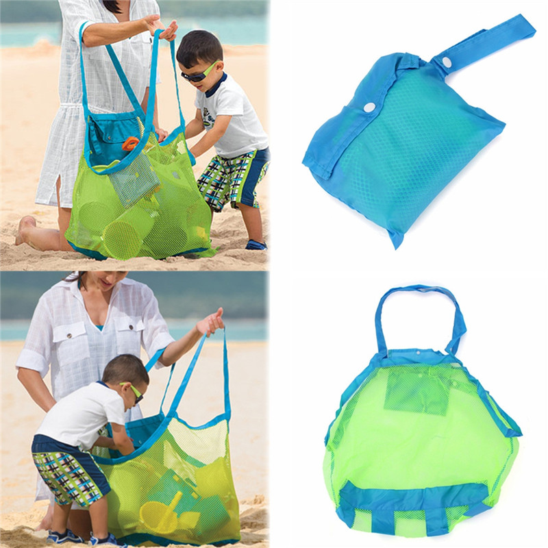 Outdoor Beach Storage Collection Pouch Tote Mesh Bag for Toy Tool Clothes Mom Baby Kids