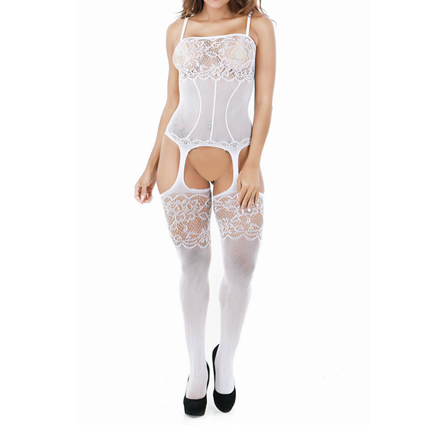 Women Lace Bust Open Crotch Bodystocking Hollow Out Mesh Lingerie Conjoined Net White Colour