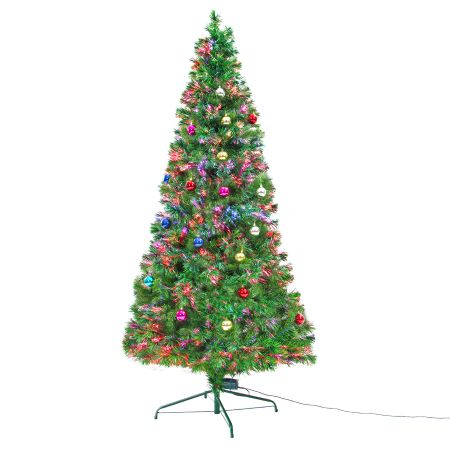 8Ft 240cm Fibre Optic LED Christmas Tree - Baubles Multi-colour
