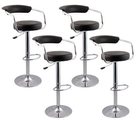 4 X Designer Bar Stool Kitchen Chair Gas Lift Black