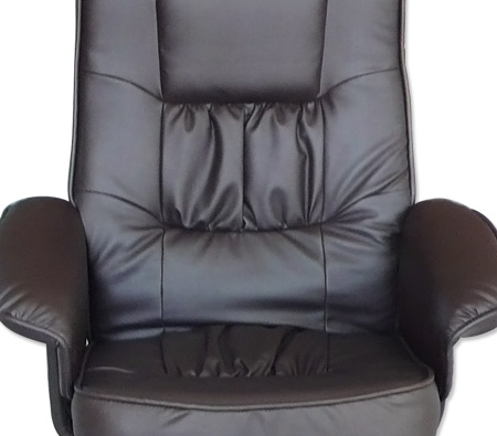 Recliner Chair Amp Foot Stool Chocolate Brown Leather