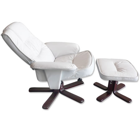 Recliner Chair u0026 Foot Stool - Cream White Leather Swivel Office Chair  sc 1 st  Shopping Square & Recliner Chair u0026 Foot Stool - Cream White Leather Swivel Office ... islam-shia.org