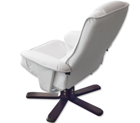 Recliner Chair Amp Foot Stool Cream White Leather Swivel
