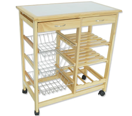 Wooden Kitchen Trolley 2 Drawer 3 Baskets 2 Shelves A Wine Rack Online Shopping