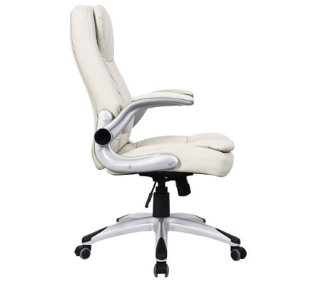 Ergonomic Adjustable High Back PU Leather Executive fice Chair with Arm Rests Cream line Shopping Shopping Square AU line Bargain Discount