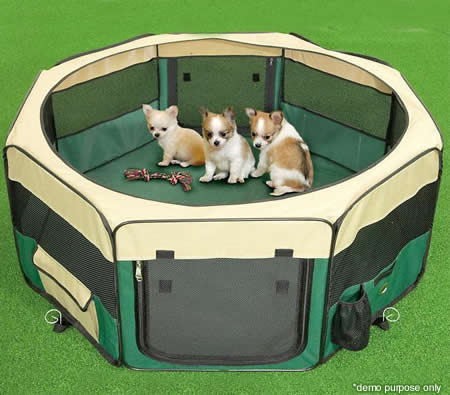Superb Small Sized Portable Pet Tent Playpen Dog/Cat Kennel 8 Panels   Green