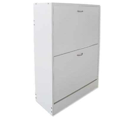 Wooden Shoe Storage Cabinet with 2 Racks - White