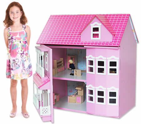 Wooden Doll House Pink Miniature Mansion With Accessories Online