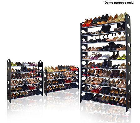 Black 50 Pair Stackable Shoe Storage Rack - Online Shopping ...