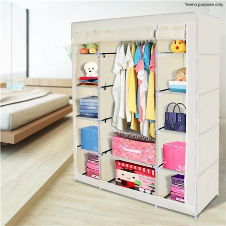 Beige 5 Level Non Woven Cloth Storage Wardrobe