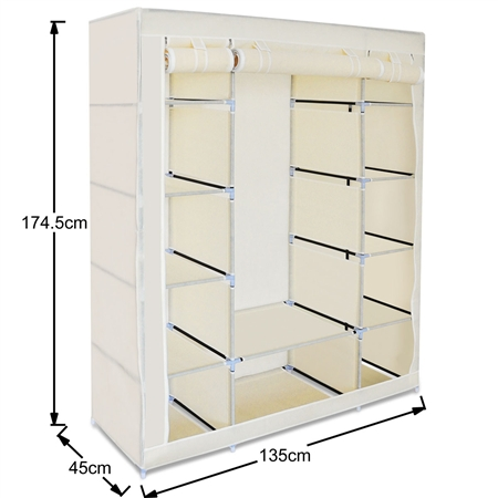 Bon Beige 5 Level Non Woven Cloth Storage Wardrobe