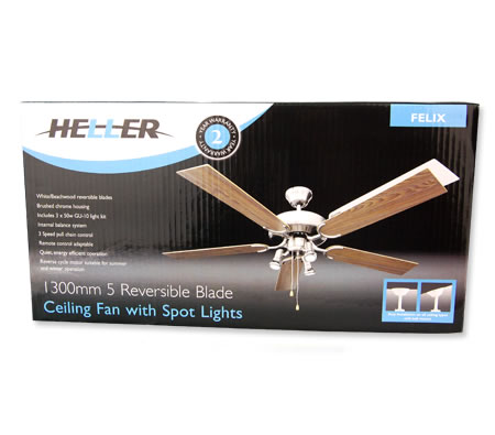 Heller felix 1300mm 5 reversible blade ceiling fan with spot lights heller felix 1300mm 5 reversible blade ceiling fan with spot lights white beechwood finish audiocablefo