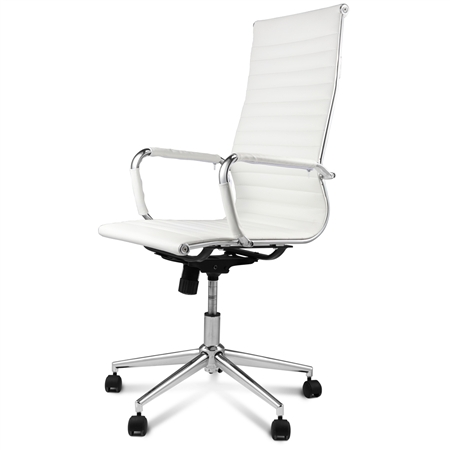 High back white replica pu leather eames office chair online shopping shopping square com au - Discount eames chair ...