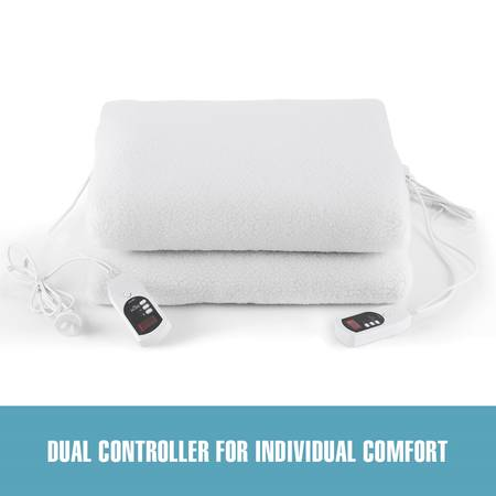 Double Control Electric Heated Blanket Fleecy Lily Hill - Double Size