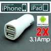 2 x 3.1Amp Dual Port USB Car Charger for iPad, iPhone, Android Smart Phone and Tablet