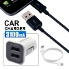 3 in 1 - 3.1Amp Dual Port USB Car Charger + 1X Micro USB Cable + 1x 8pin iPhone USB Cable