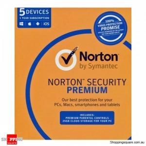 Symantec Norton Internet Security Premium Antivirus 5 Users 1 Year PC MAC