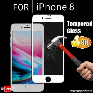 4D Arc Edge 9H Scratch Resistant Tempered Glass Screen Protector Film for iPhone 8 White Colour