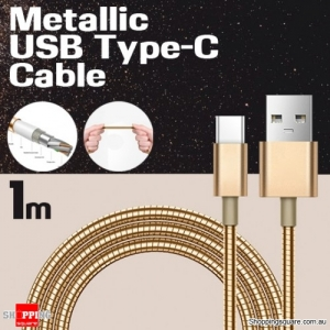 1m Metallic Stainless Steel USB Type C Charging Cable for Samsung S8 Plus LG V30 HTC U11 Gold Colour
