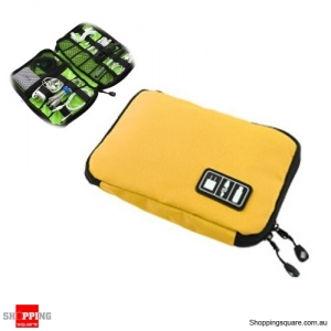 Travel Cable Storage Bag Electronic Accessories Carry Case Waterproof - Yellow