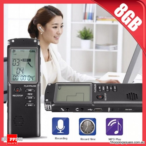 8GB Rechargeable Portable LCD Digital Audio Voice Sound Recorder Dictaphone MP3 Player