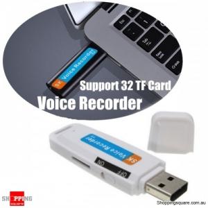 USB Pen Disk Flash Drive Digital Audio Voice Recorder support 32GB TF Micro SD card -White