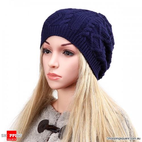 Women's Warm Soft Knit Double Helix Structure Wool Cap Hat Outdoor Autumn Winter - Blue