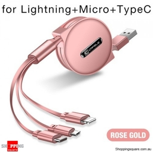 Cafele 3 in 1 Retractable USB Cable for iPhone Cable Micro USB Type-C - Rose Gold