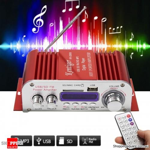 2 Channel Hi-Fi Audio Stereo Mini Amplifier Car Home MP3 USB FM SD w/ Remote -Red
