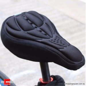 Outdoor Cycling 3D Bicycle Silicone Gel Pad Seat Saddle Cover Soft Cushion-Black