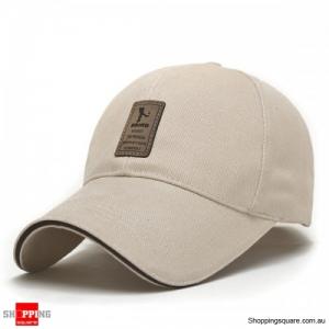 Cotton Blend Baseball Cap Hip-hop Adjustable Hat - Beige