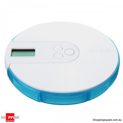 7 Days Electronic Pill Organizer Timer Alarm Clock Reminder Medicine Case Box - Blue