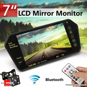 """7"""" TFT LCD Bluetooth Car Rear View Parking Mirror Monitor + Reversing Car Camera with Remote Controller"""