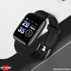 Large Touch Screen HR Monitor Sport Smart Watch - Black