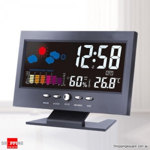 Digital LCD Weather Forecast Thermometer Hygrometer Temperature Alarm Desk Clock