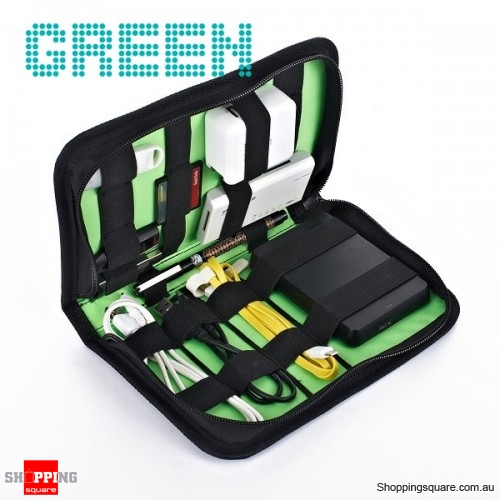 Portable Accessories Organizer Earphone Cable USB Storage Bag - Green
